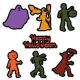 Стикеры с героями праздника хеллоуина бесплатная иллюстрация