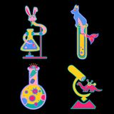 Стикеры с пробирками и животными, динозаврами желтыми, пинком, голубым иллюстрация штока