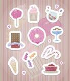 Стикеры с розовыми милыми помадками с белым планом и тени на striped розовом чертеже вектора предпосылки иллюстрация вектора