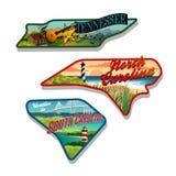 Стикеры Теннесси багажа, Южная Каролина, Северная Каролина Стоковые Изображения