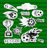 Стикеры футбола Иллюстрация штока