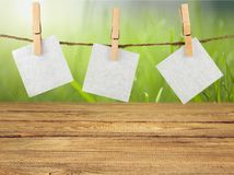 Стикеры чистого листа бумаги вися на веревочке на предпосылке Стоковое Изображение