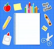 Стикеры школьных принадлежностей иллюстрация вектора