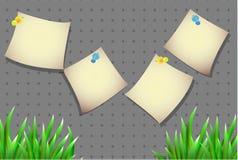 Стикеры для текста с травой на простой предпосылке Стоковая Фотография RF