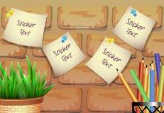 Стикеры для текста с цветочным горшком на предпосылке кирпича Стоковая Фотография