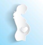 Стикер беременной женщины иллюстрация вектора