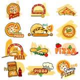 Стикер бирки ярлыка пиццы для рекламы иллюстрация штока