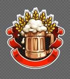 Стикер деревянной кружки пива с ушами пшеницы иллюстрация штока