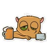 Стикер для посыльного с смешным животным Пиво хомяка выпивая на баре Иллюстрация вектора, изолированная на белизне иллюстрация вектора