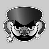 Стикер - злий пират с шляпой и серьгами Стоковая Фотография RF