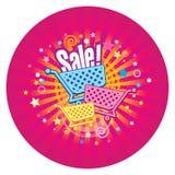 Стикер круга продажи Вагонетки супермаркета на декоративной предпосылке с лучами, звездами и confetti иллюстрация штока