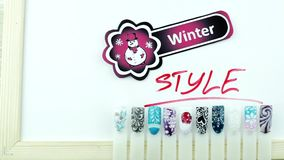 Стикер маникюра и снеговика стиля зимы сток-видео
