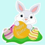 Стикер пасхи с кроликом и яичками Стоковые Фото
