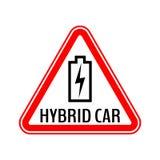 Стикер предосторежения гибридного автомобиля Сохраньте предупредительный знак автомобиля энергии Поручая значок контура батареи в бесплатная иллюстрация