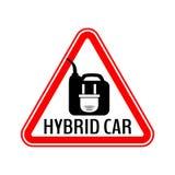 Стикер предосторежения гибридного автомобиля Сохраньте предупредительный знак автомобиля энергии иллюстрация штока
