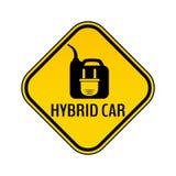 Стикер предосторежения гибридного автомобиля Сохраньте предупредительный знак автомобиля энергии Электрическая штепсельная вилка  иллюстрация штока