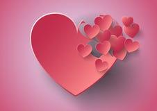 Стикер сердца бумажный с днем валентинки тени иллюстрация вектора