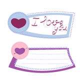 Стикер сердца бумажный с рукой помечая буквами я тебя люблю Вектор Illust иллюстрация штока
