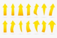 Стикер стрелки установленного желтого вектора популярный изолировал ленту origami иллюстрация штока