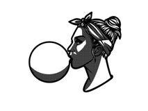 Стикер с девушкой в стиле полутонового изображения Иллюстрация вектора