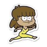 стикер усмехаться девушки мультфильма иллюстрация штока