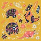 Стикер установил декоративных австралийских животных r бесплатная иллюстрация