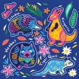 Стикер установил декоративных австралийских животных r иллюстрация вектора