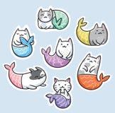 Стикер установил с милой русалкой кота kawaii также вектор иллюстрации притяжки corel иллюстрация вектора