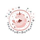 Стикер характера сказки Пегаса Girly в круглой рамке Стоковые Фотографии RF
