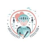 Стикер характера сказки рыцаря Girly в круглой рамке Стоковые Фотографии RF