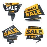 Стикер шаблона значка знамени ценника ярлыка цвета продажи черный Стоковое Изображение