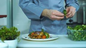 Стилизатор еды украшая блюдо свинины Еда сервировки кельнера для представления к клиенту акции видеоматериалы