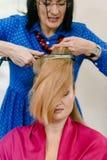 Стилизатор с утюгом волос стоковая фотография rf