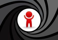 Стилизованная диаграмма человека с поднятыми руками в абстрактном бочонке оружия Концепция безопасности, полного контроля над пер Стоковая Фотография RF