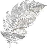 Стилизованная иллюстрация пера в стиле doodle путать иллюстрация вектора