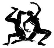 Стилизованная иллюстрация танцоров Стоковые Изображения RF
