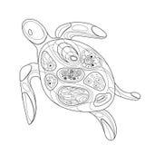 Стилизованная морская черепаха вектора линейное искусство Рисовать вручную Млекопитающие океана печать Стоковые Изображения RF