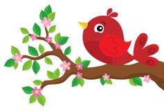 Стилизованная птица на теме 2 ветви весны Стоковая Фотография RF