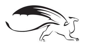 Стилизованное изображение фантастического дракона Графический силуэт Изолированный вектор Стоковые Изображения RF