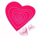 стилизованное изображения сердца розовое спиральн Стоковое Изображение