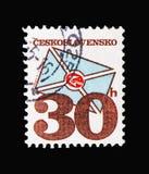 Стилизованное письмо, почтовое serie эмблем, около 1974 стоковое фото rf