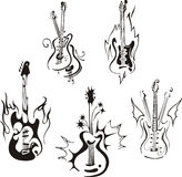 Стилизованные гитары иллюстрация вектора
