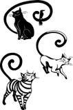Стилизованные коты - элегантность и грациозно коты. иллюстрация вектора
