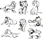 Стилизованные львы Стоковая Фотография RF