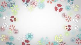 Стилизованные пестротканые снежинки на белой предпосылке Абстрактная круглая анимация, предпосылка высок-техника с кругами иллюстрация штока