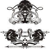 Стилизованные симметричные виньетки с львами Стоковое Изображение RF