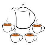Стилизованный вектор чайника и 4 чашек бесплатная иллюстрация