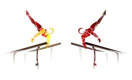 Стилизованный, геометрический гимнаст, гимнастический бар, параллельные брусья Стоковое фото RF