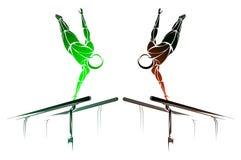 Стилизованный, геометрический гимнаст, гимнастический бар, параллельные брусья Стоковая Фотография RF