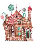 Стилизованный дом пряника Стоковое Изображение RF